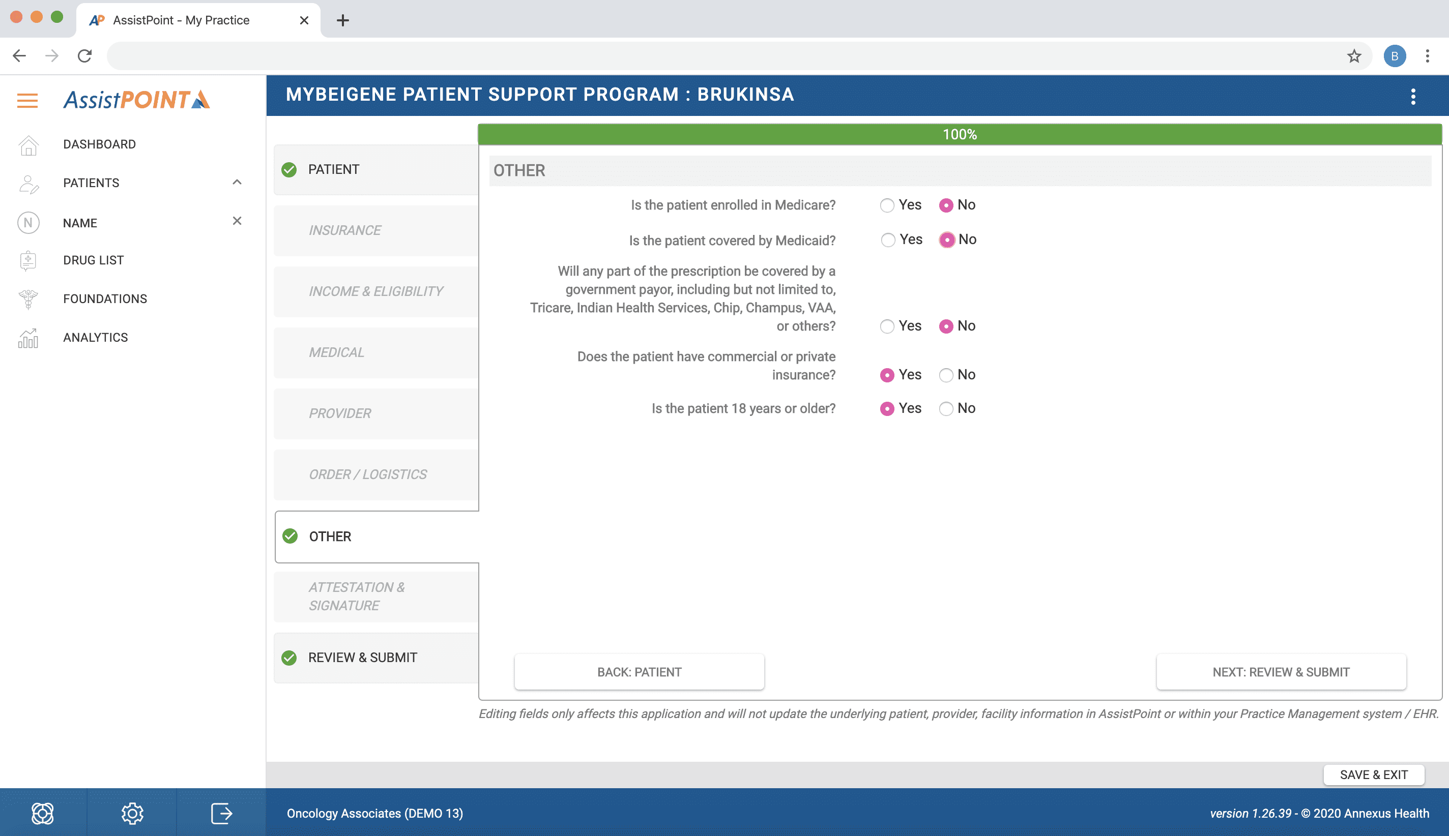 Screenshot of Life Science's functionality of AssistPoint - Screen 4